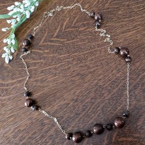 Jewelry - Gold Necklace With Brown Marbeled Beading